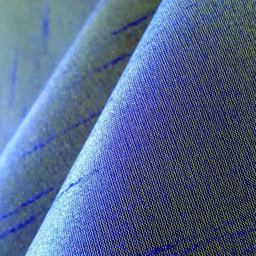 "ROYAL BLUE YELLOW FAUX SILK DUPIONI FABRIC TWO TONE 60/"" BY THE YARD"