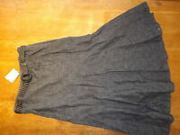 Ex-bhs Ladies Black Denim 100% Cotton A Line Denim Skirt+ Belt Sz 12 (£25)