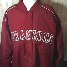 Franklin High School Crimson Red Jacket Coat Men's XL Russell Brand Quilt Lining