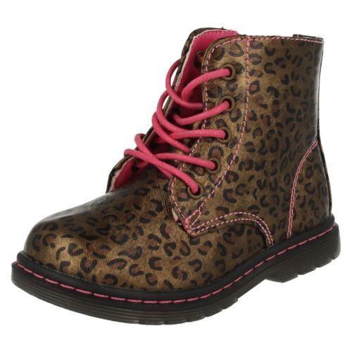 h4109- infantil niña Bronce Estampado Leopardo Tobillo Botas Gran Precio