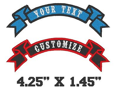 "Custom Embroidered Motorcycle Biker Small Ribbon Sew on Patch 4.25"" x 1.45"" (1)"