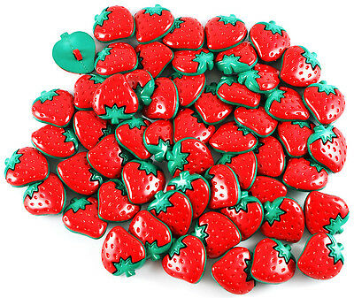 Red Strawberry Buttons - Large (22mm x 20mm)