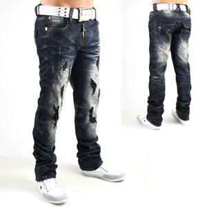 Pantalon-hommes-Jeans-VIP-Dirty-vintage-destroyed-clubwear-style-noir-Neuf