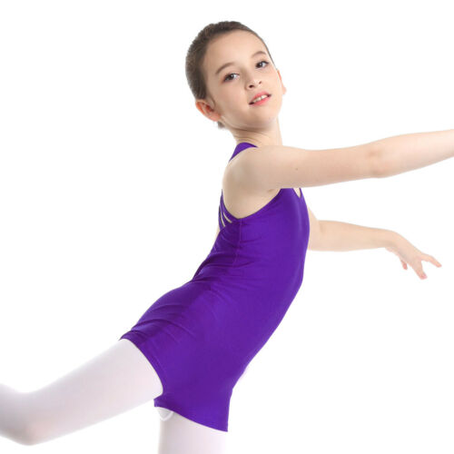US Girls Ballet Dance Leotard Sport Outfit Gymnastics Dancewear 2PCS Tankini Set