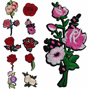 11PCS-Rose-Flower-Iron-on-Sew-On-Embroidered-Applique-Patch-DIY-Clothing-New