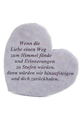 """Garten- & Parkeinrichtung Bestattungsbedarf Gedenkherz """"wenn Die Liebe....""""vidroflor Steinguss Friedhof Frostfest 08662 100% Garantie"""