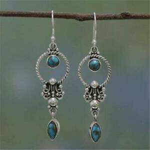 Natural-Stone-Pendant-Turquoise-Gemstone-Dangle-Hook-Earring-Retro-Thai-Silver