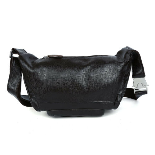 Coffee Men Real Cow Leather Small Belt Bum Bag Waist Fanny Pack Sport Backpack