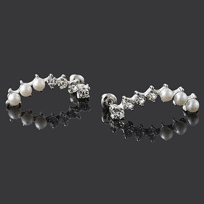 Korean Style Pearls Crystal Rhinestone Ear Cuff Wrap Hoop Clip Studs Earring NEW
