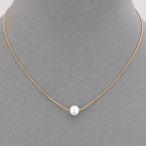 Gold Dainty Simple Chain Amp Pearl Elegant Pendant Necklace