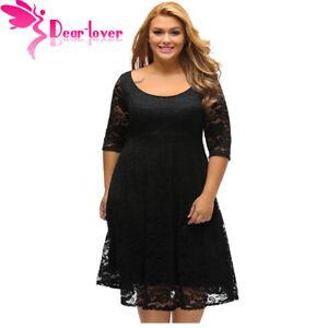 Detalles De Autumn Dress Plus Size Women Clothing Whiteblack Floral Lace Sleeve Curvy Dress
