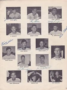 Cleveland-Indians-1952-Baseball-Magazine-page-signed-by-8-with-Harry-Simpson