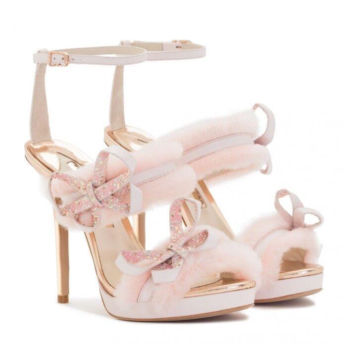 Sophia Webster Bella Faux-Fur Ankle-Wrap Sandal, Pink  650.00 Size 37