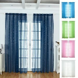 Silver-Stars-Shear-Mesh-Shiny-Top-Voile-Curtain-Room-Bedroom-Window-Net-9Guzx