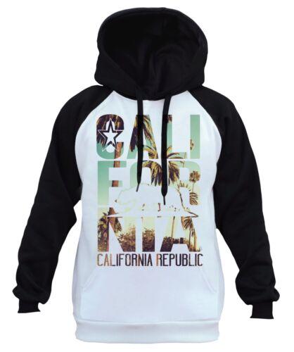 Men/'s California Republic Palm Trees White Raglan Hoodie Cali Life Bear CA B437
