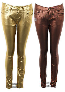 Ladies Bronze Gold Shiny Fitted Slim Fit Jeans Women's ...