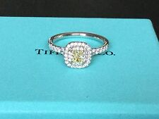TIFFANY & CO  PLATINUM SOLESTE FANCY YELLOW DIAMOND RING .52 TCW Int FLAWLESS