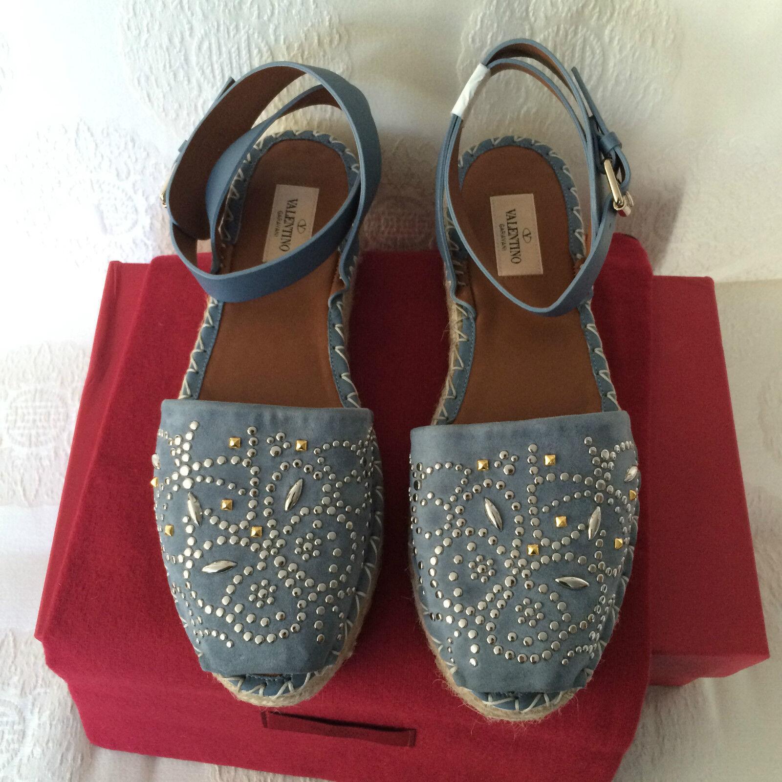 Valentino Grey Suede Peep-Toe Espadrilles NWB Dust Dust Dust Bag Size10 40 Retail  1045 b1a107