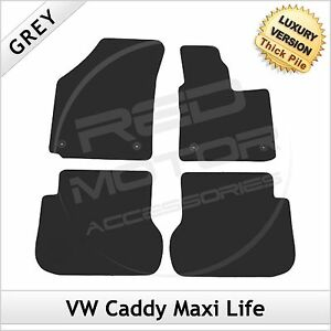VW-Caddy-Maxi-Life-Facelift-2010-onwards-Tailored-LUXURY-1300g-Carpet-Mats-GREY