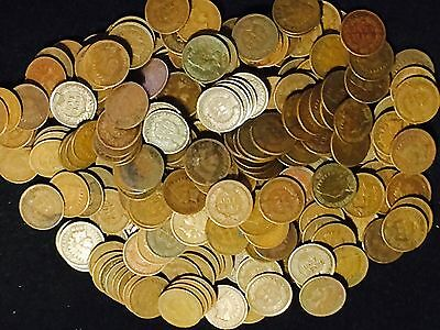 1800/'S 1900/'s LOT OF 250 Coins Mixed Indian Head Cent Pennies in Average Circ