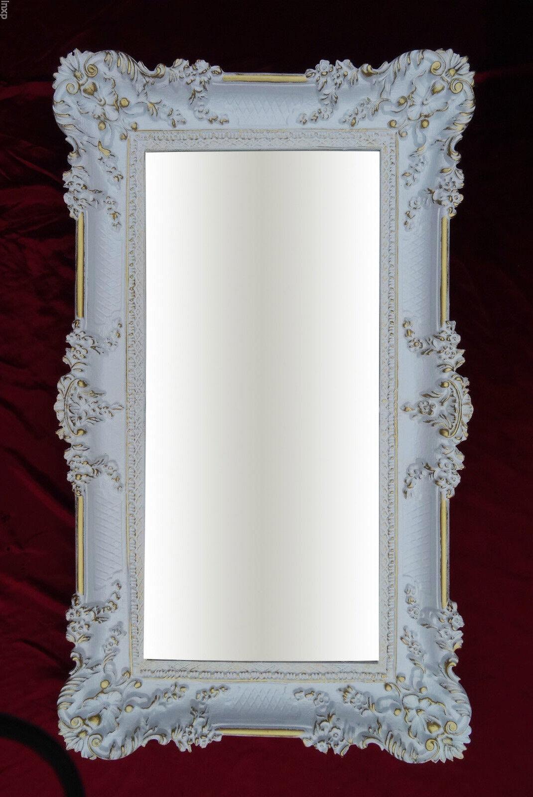 wandspiegel wei gold 96x57 antik barock shabby chic. Black Bedroom Furniture Sets. Home Design Ideas