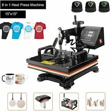 8 In 1 Heat Press Machine 15x15 For T Shirts Combo Kit Sublimation Swing Away