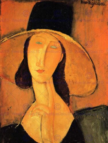 AMEDEO MODIGLIANI PORTRAIT OF WOMAN WITH HAT OLD ART PAINTING PRINT 162OMB