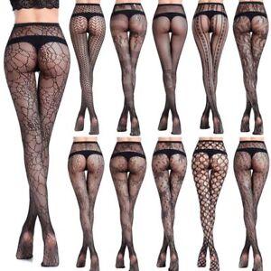650885e96ae Details about Sexy Women Black Lace Top Mesh Thigh-Highs Leggings Stockings  Garter Belt Socks