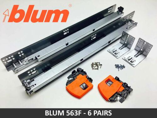 6 PAIRS Blum TANDEM 563F BLUMOTION Soft Close Drawer Slides with Locking Devices