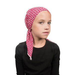 Kids Pretied Headscarf Cute Red Butterfly Alopecia Scarf Chemotherapy Head Cover