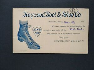 Massachusetts: Worcester 1900 (circa) Heywood Boot Advertising Postal Card