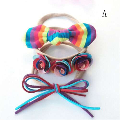 3pcs Kids Girls Baby Headband Toddler Bow Flower Hair Band Accessories HeadweFT