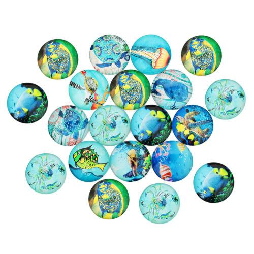 20 Sea World Kühlschrankmagnete Glas Cabochon DIY Flache Rückseite Schmuck