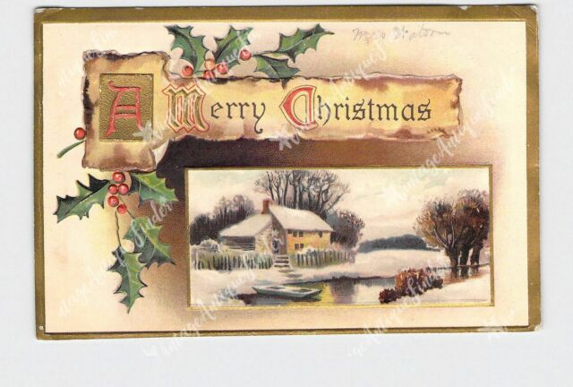PPC POSTCARD MERRY CHRISTMAS SNOW COVERED LANDSCAPE HOLLY GOLD EMBOSSED