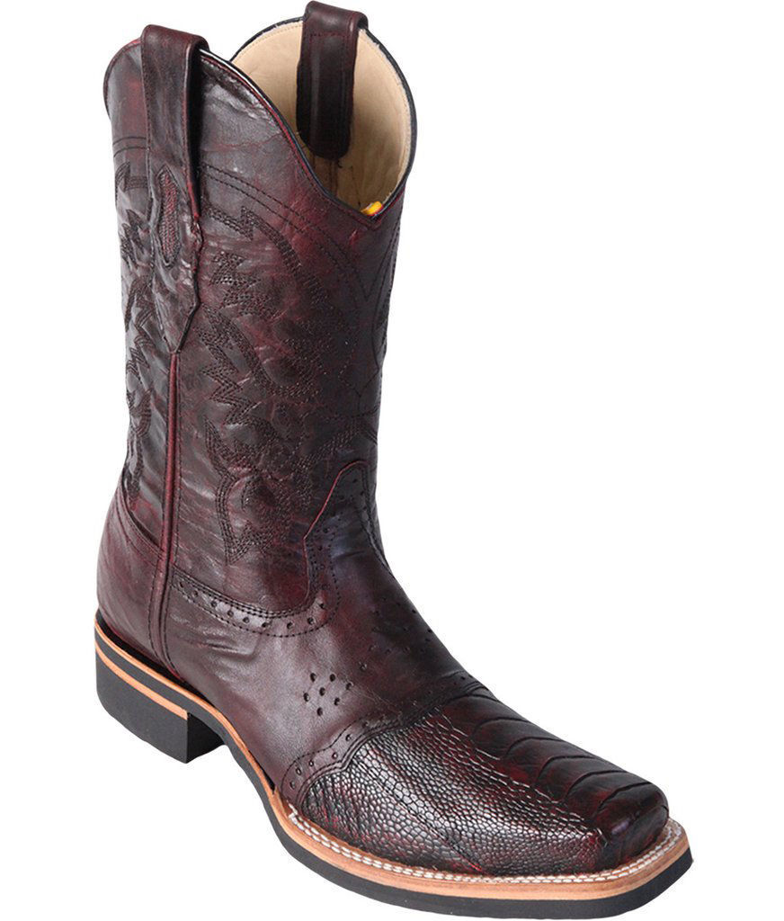 Los Altos CHERRY Genuine Ostrich Leg Rodeo Square Toe Western Cowboy Boot D