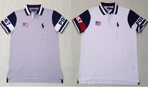 Polo Ralph Lauren Mens White USA Flag Polo 1967 Shirt NWT With Flag