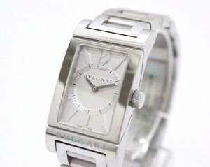 Image is loading BVLGARI-Rettangolo-SS-Women-039-s-Wrist-Watch- 2897df0ef64