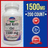 RED Krill Oil 200 Capsules Max-1500 MG Omega-3 Fatty Acids-EPA-DHA -Astaxanthin
