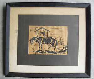Beautiful 1953 Ink Painting of Horse with Plow Signed and Framed Look