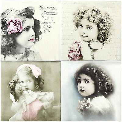 4x Paper Napkins -Vintage Girls Mix - for Party, Decoupage