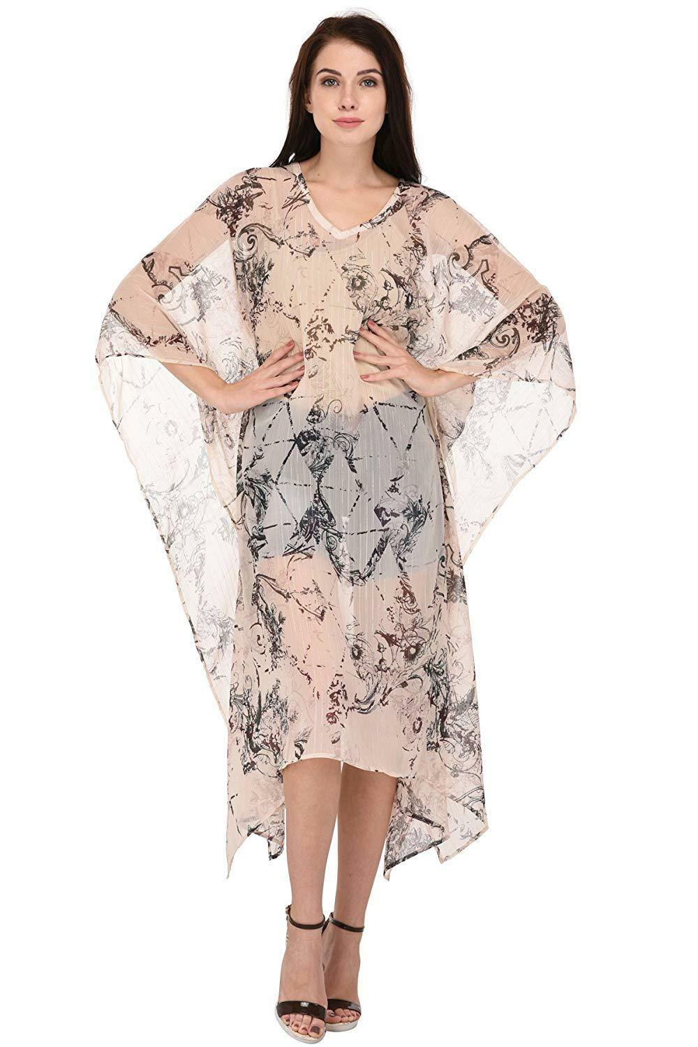 damen Digitally Printed Beach Kaftan Kimono Sleeve Maxi Dress Plus Größe
