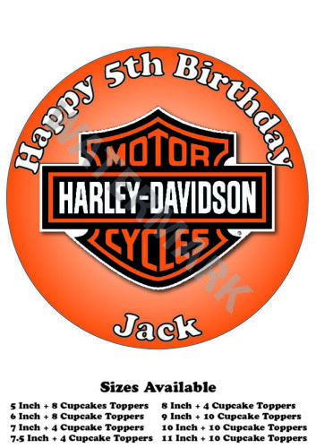 Harley Davidson Edible Wafer Icing Cake Topper Costco Any Size upto A3