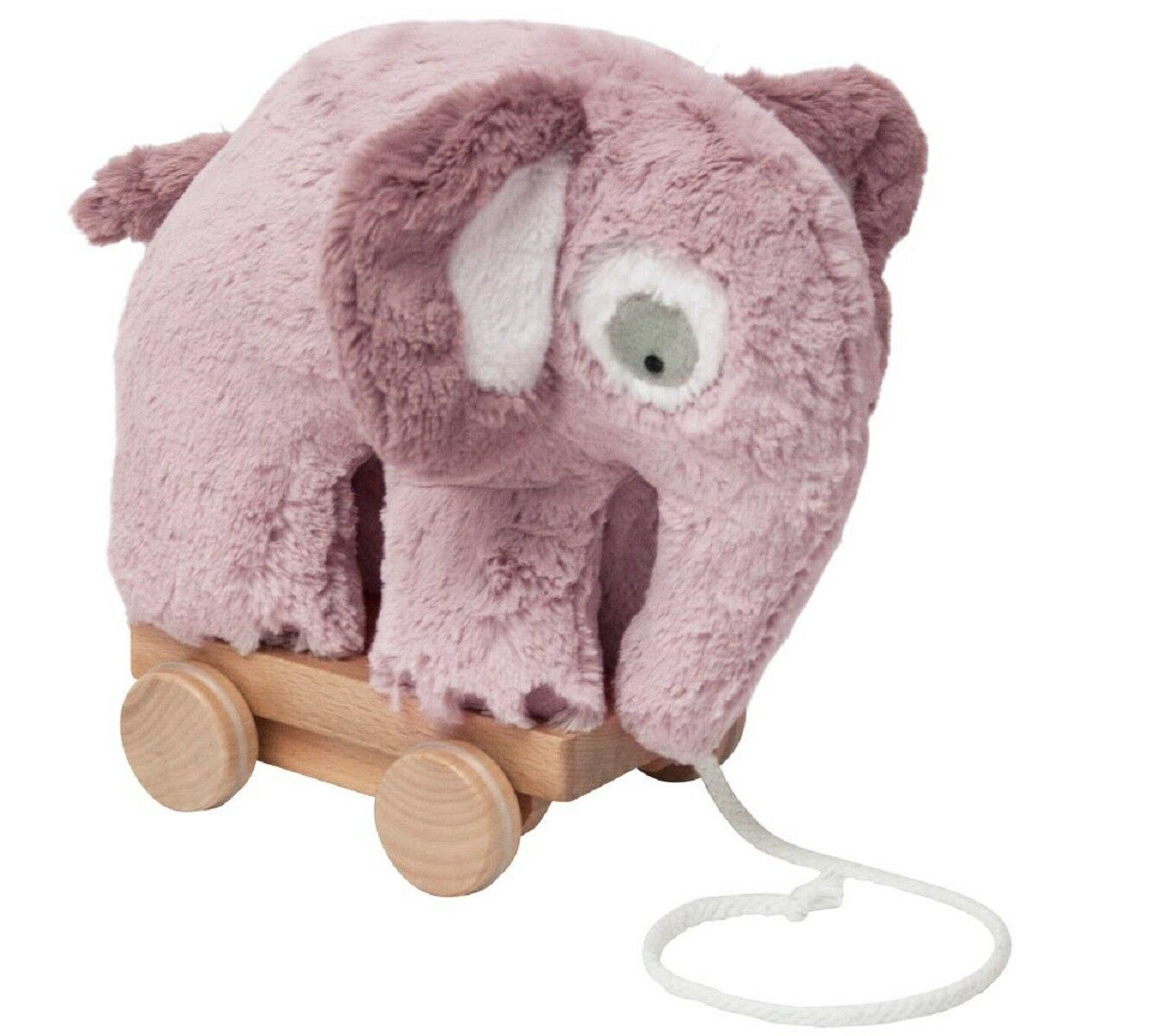 Sebra Pulling Toy Stuffed Elephant Old Pink on Casters Pull along Animal Wood