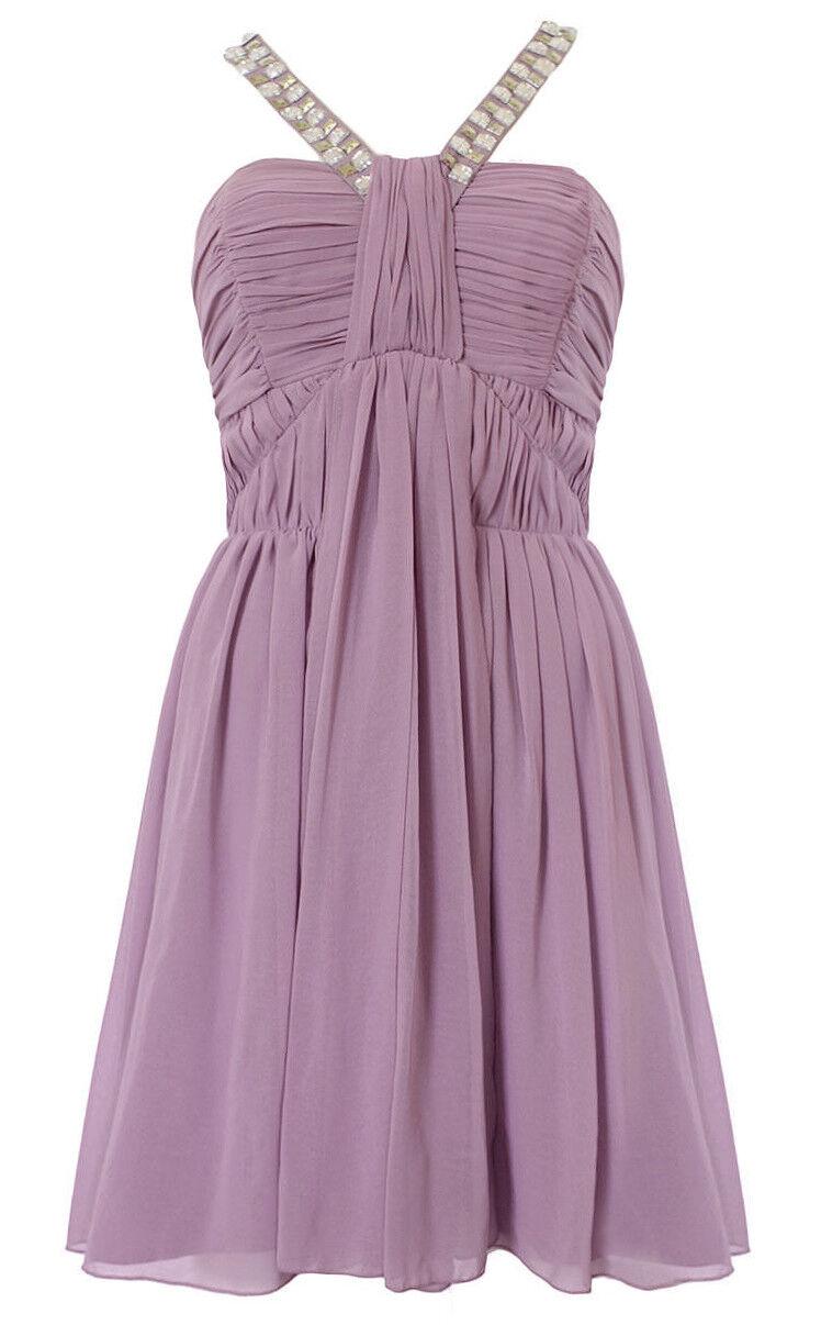 New Lipsy purplec Purple Embellished Grecian Drape Style Dress Party Evening