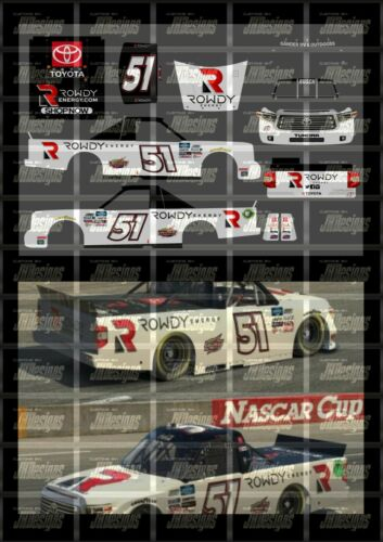 2020 IRACING #51 KYLE BUSCH ROWDY ENERGY TOYOTA TUNDRA NASCAR 1//24 DECALS