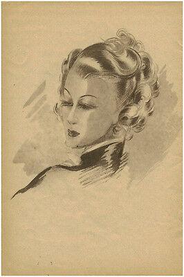 publicité ancienne portrait femme coiffure mode  année 40 no 2