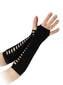 Schwarz Leiter Handschuhe Damen Punk-rock 80s Jahre Maskenkostüm 25.4cm Lang Neu Stabile Konstruktion