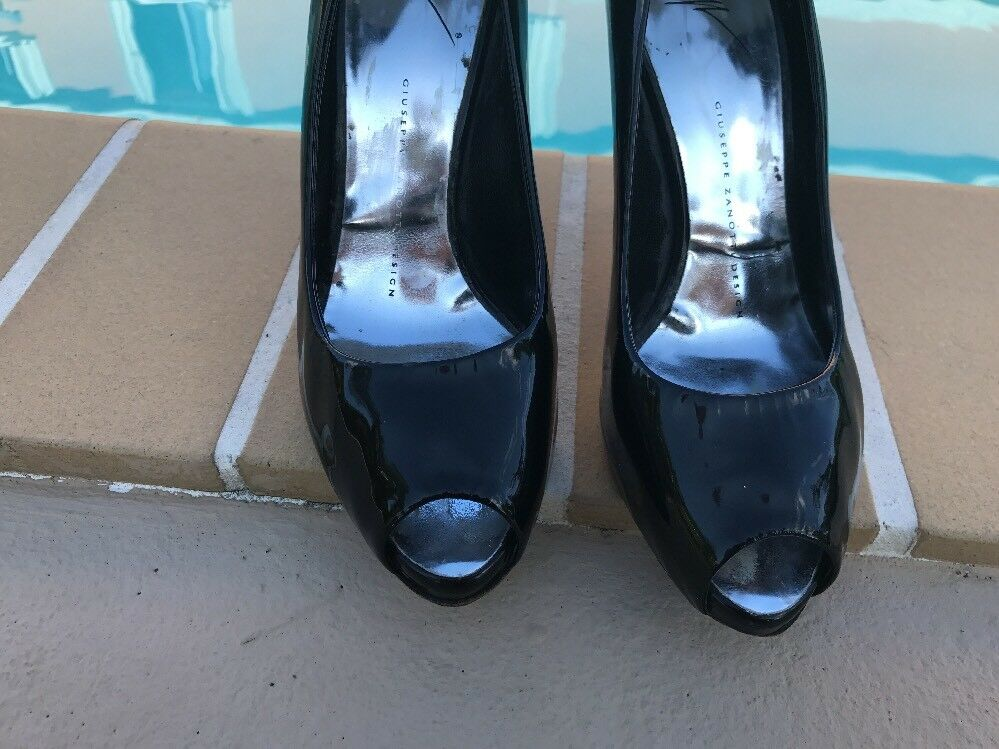 Giuseppe Zanotti BLACK PATENT LEATHER PEEP TOE ITALY PLATFORM Sz 38M MADE IN ITALY TOE 71e212