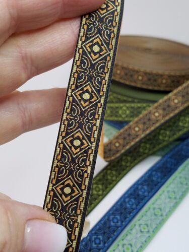 Medieval folk Tessuto Intrecciato finiture bronzo//nero 5//8 Pollici di larghezza per il giardino