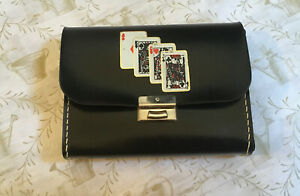 Vintage-Leather-Case-With-2-SEALED-Decks-Playing-Cards-AND-Score-Pad-England